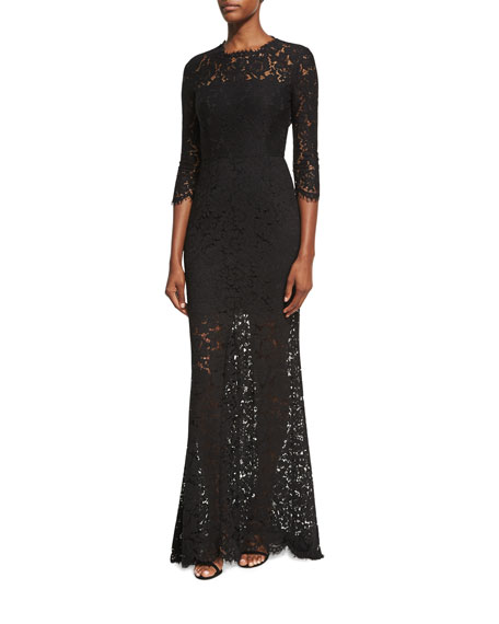 Carolyn Open-Back Lace Gown, Black