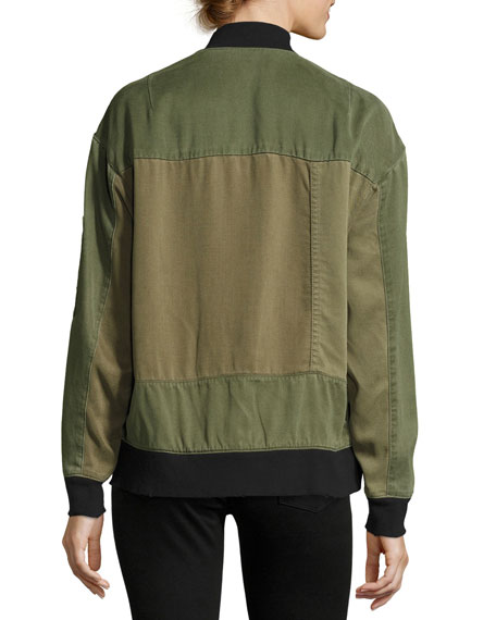 Gene Oversized Utility Bomber Jacket, Green Pattern