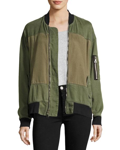 Hudson Gene Oversized Utility Bomber Jacket, Green Pattern