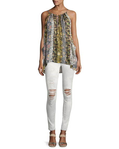 Nico Mid-Rise Distressed Super Skinny Jeans, White