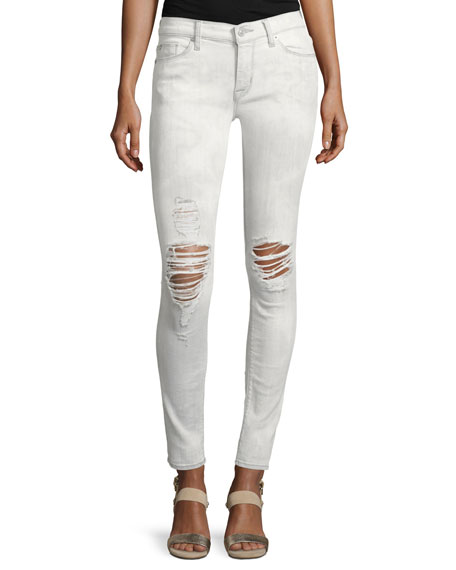 Hudson Nico Mid-Rise Distressed Super Skinny Jeans, White