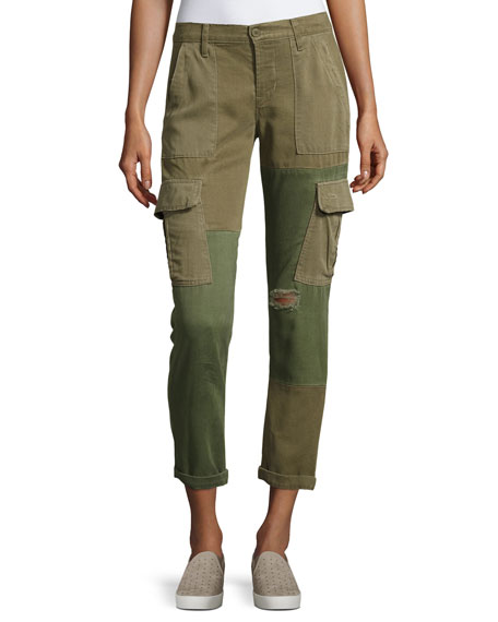 Hudson Riley Two-Tone Utility Cargo Pants, Green Pattern