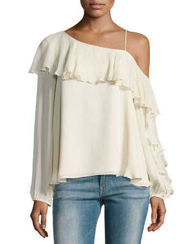 Your Girl Silk Cold-Shoulder Blouse, White