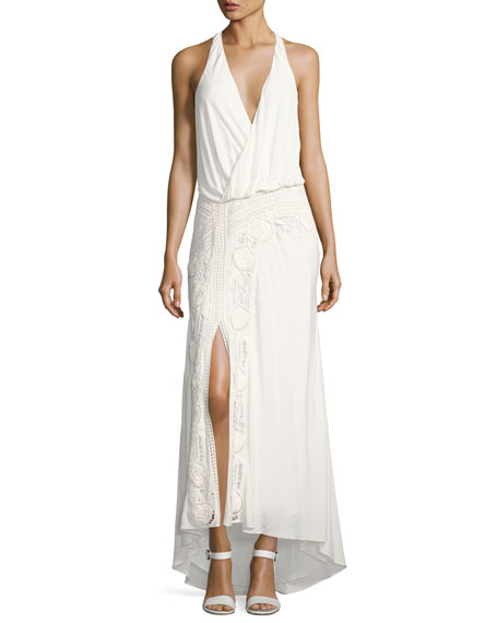Haute Hippie Lux Sleeveless Halter Crochet Maxi Dress,