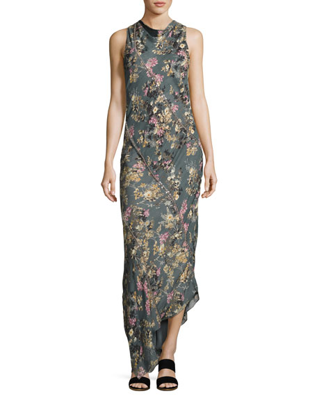 Cecilia Floral Print Silk Maxi Dress, Gray-Multi