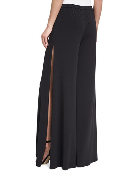 Breeze Drawstring Split-Leg Pants, Black