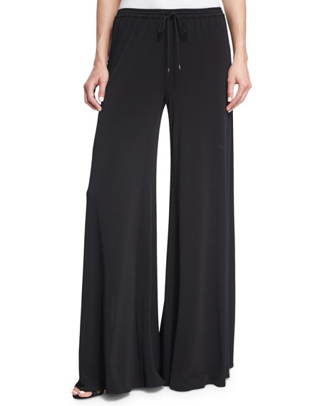 Haute Hippie Breeze Drawstring Split-Leg Pants, Black