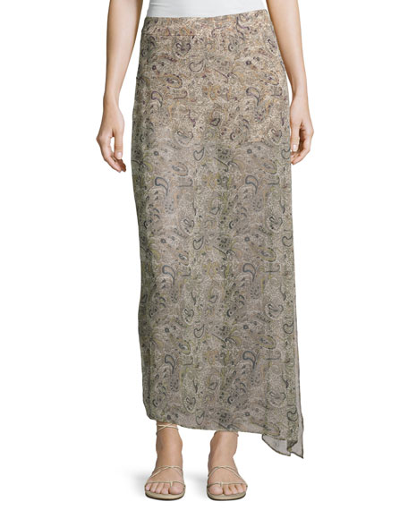 Haute Hippie The Midi Slayer Skirt, Beige-Multi