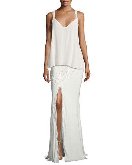 Lux Crocheted Front-Slit Maxi Skirt, White