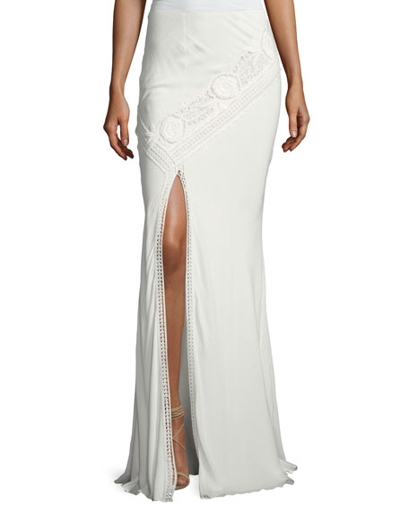 Lux Crocheted Front-Slit Maxi Skirt, White