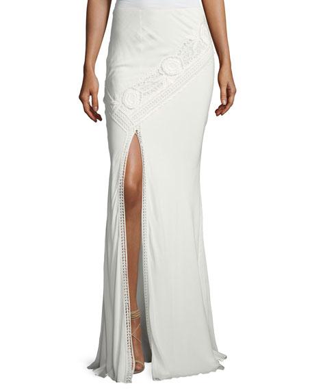 Haute Hippie Lux Crocheted Front-Slit Maxi Skirt, White