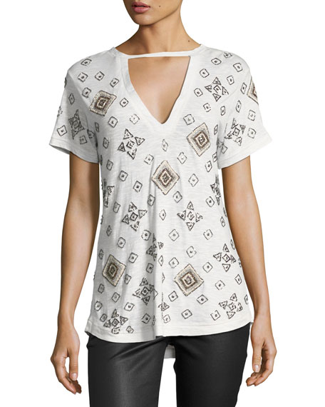 Haute Hippie The Rebel Embellished Tee, Gray