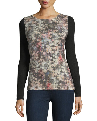 Romantic Floral Sheer-Sleeve Cashmere Top