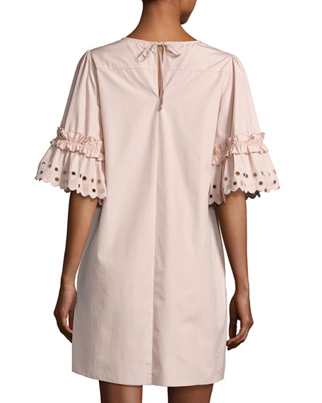 Eyelet-Sleeve Cotton Shift Dress, Blush