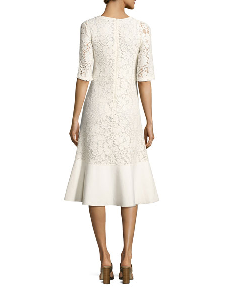 Lace Half-Sleeve Peplum-Hem Midi Dress