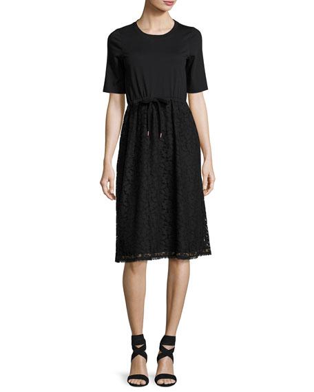 See by Chloe Drawstring Lace-Skirt T-Shirt Dress, Black