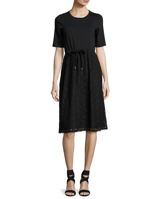 90dc96f631 Drawstring Lace-Skirt T-Shirt Dress, Black