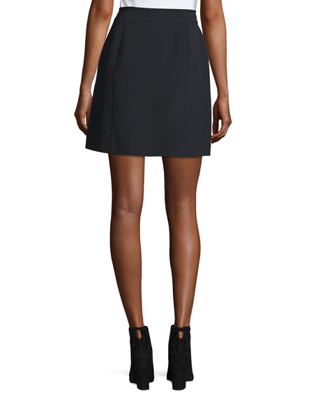 Zip-Front Crepe Miniskirt w/ Large Patch Pockets