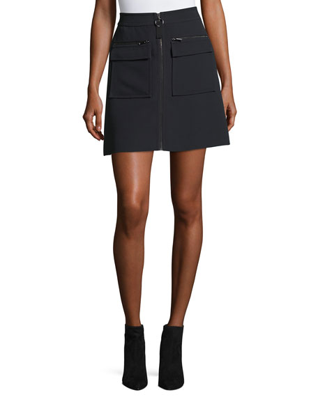 GREY by Jason Wu Zip-Front Crepe Miniskirt w/