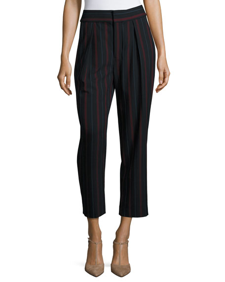 Striped Pleated Crepe Trousers, Navy