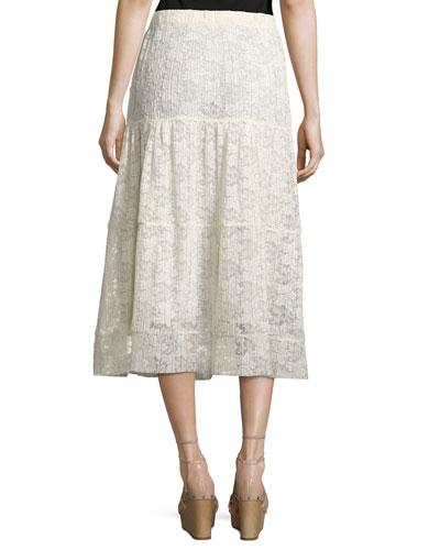 see by chlo 201 pleated burnout chiffon midi skirt white