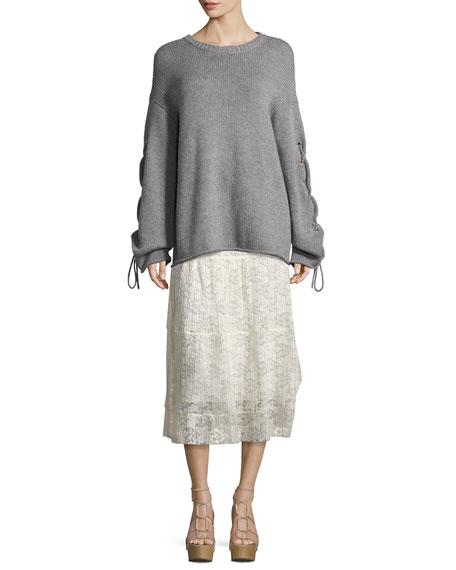 Pleated Burnout Chiffon Midi Skirt, White