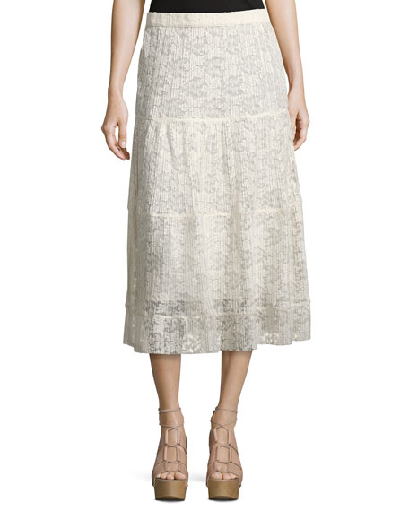 See by Chloe Pleated Burnout Chiffon Midi Skirt,