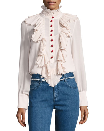 Ruffled Chiffon Long-Sleeve Blouse, Beige