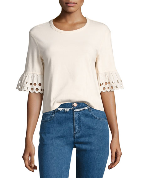 See by Chloe Crewneck Short-Sleeve Cotton Top, Off
