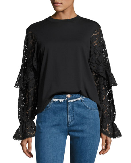 See by Chloe Lace Long-Sleeve Cotton Top, Black