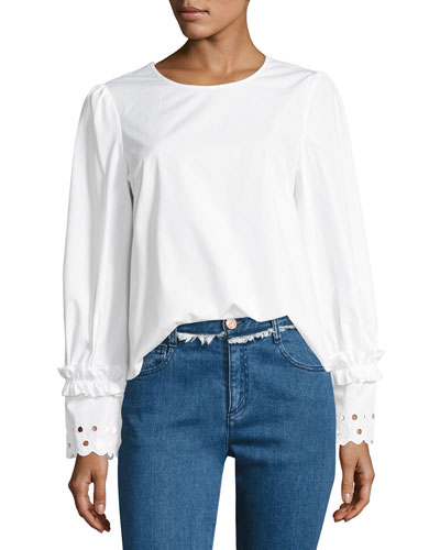 Crewneck Long-Sleeve Poplin Top, White