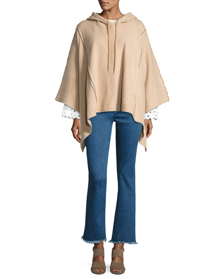 Hooded Rib-Knit Poncho, Camel
