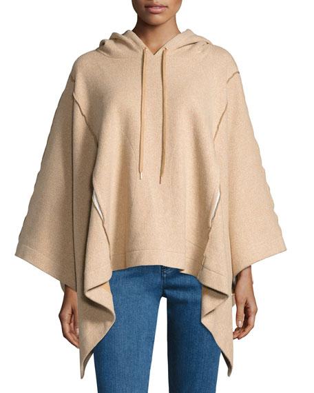 Hooded Rib-Knit Poncho, Camel