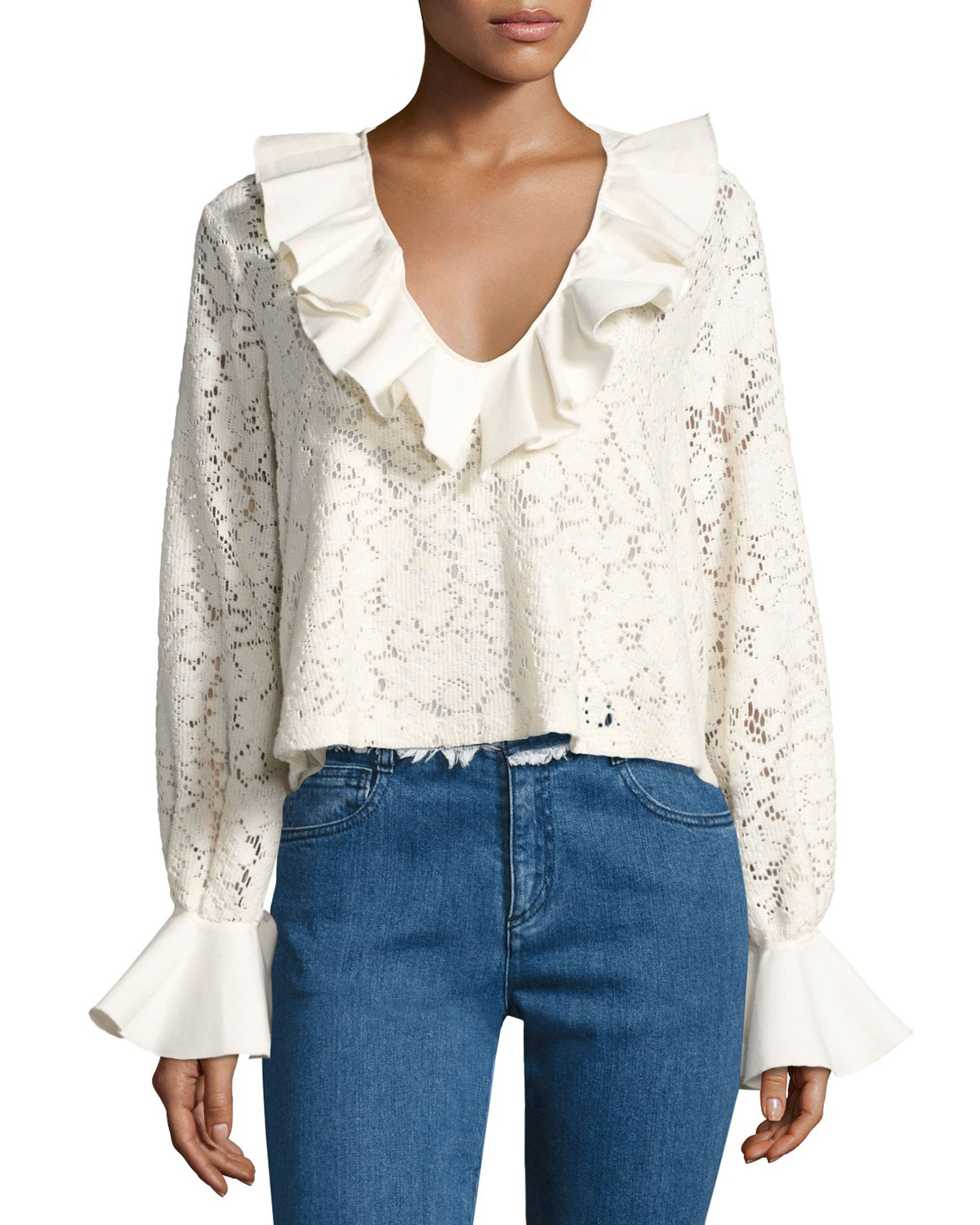 Affordable For Sale Outlet Countdown Package Ruffle-neck cotton top See By Chloé Best Choice PWzOjKw