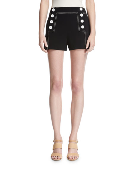 Derek Lam 10 Crosby Sailor Mid-Rise Button Shorts,