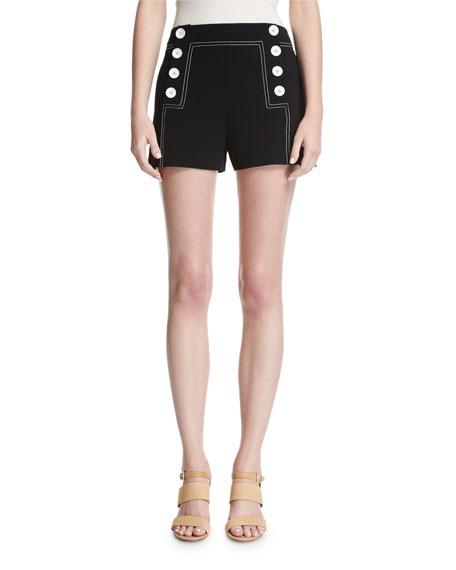 Derek Lam 10 Crosby Sailor Mid-Rise Button Shorts,