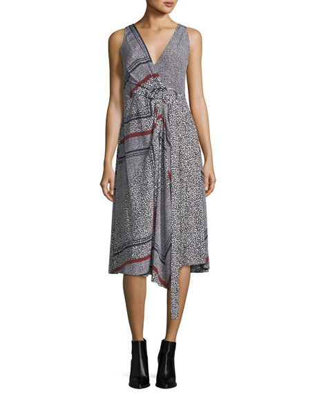 Sleeveless Printed Wrap Dress w/ Pleating