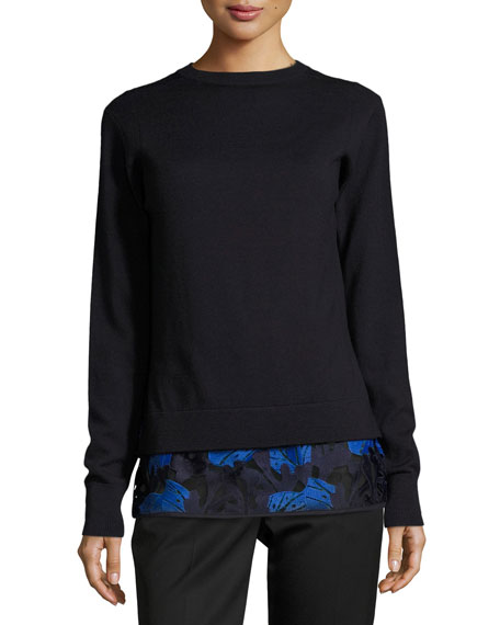 Jason Wu GREY Layered Lace-Hem Merino Wool Sweater