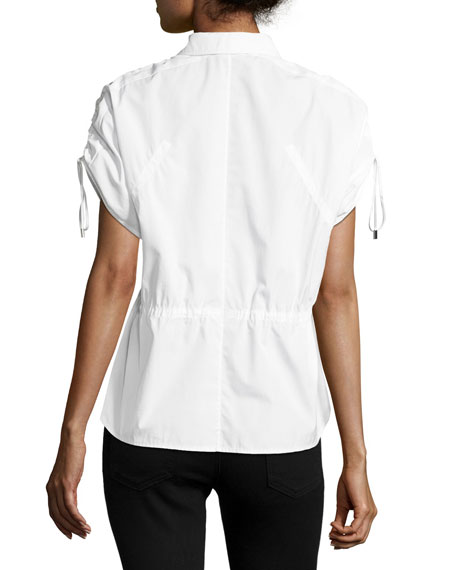Short-Sleeve Half-Button Drawstring Cotton Top