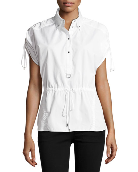 GREY Jason Wu Short-Sleeve Half-Button Drawstring Cotton Top