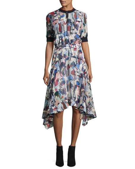 GREY Jason Wu Printed 1/2-Sleeve Handkerchief Dress