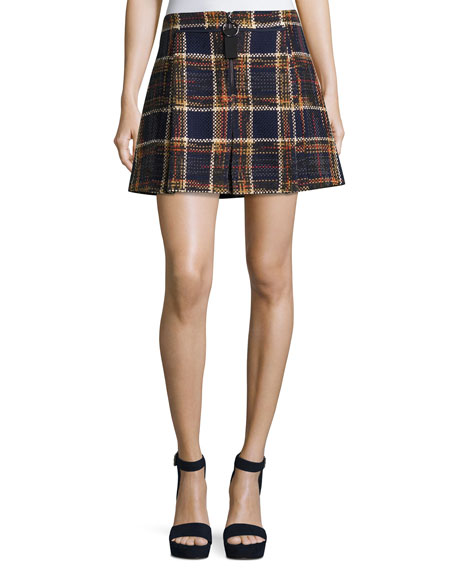 GREY Jason Wu Quarter-Zip Plaid Tweed Mini Skirt