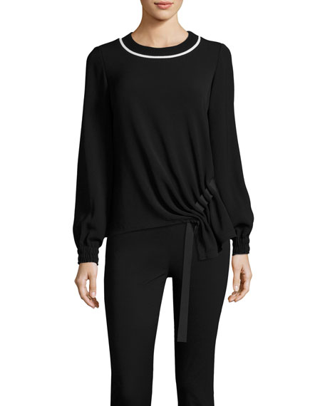 GREY by Jason Wu Sweater w/ Asymmetric Grosgrain
