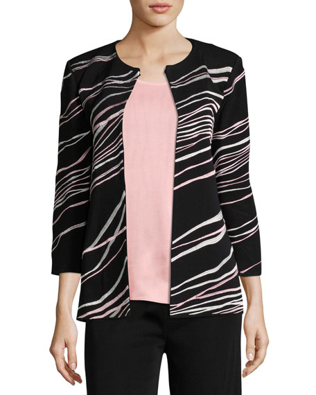 Ribbon 3/4-Sleeve Jacket, Plus Size
