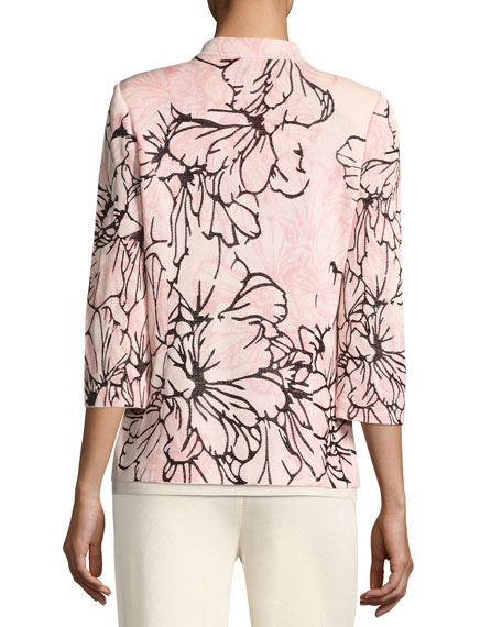 Graphic Petals 3/4-Sleeve Jacket, Plus Size