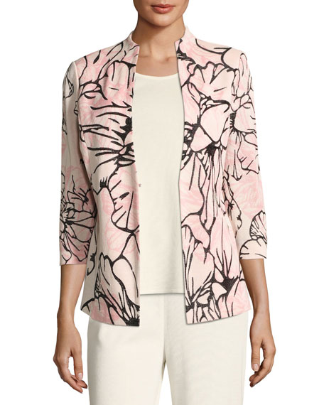 Misook Graphic Petals 3/4-Sleeve Jacket, Plus Size