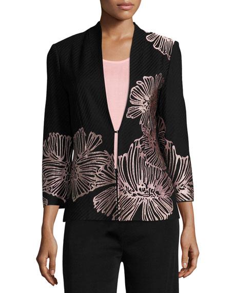 Misook Petal Pop Jacket, Black/Pink
