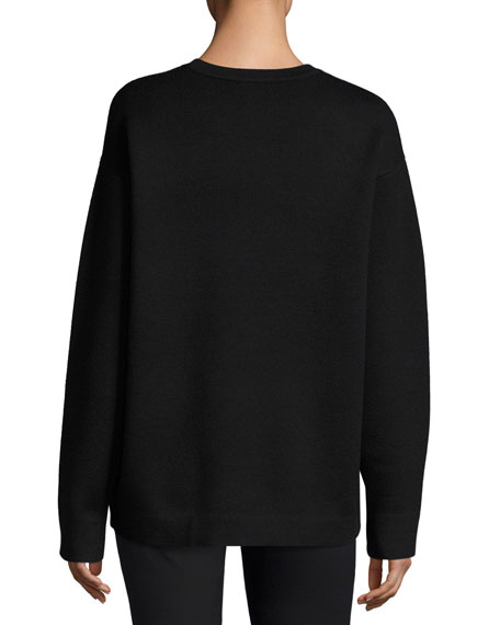 Oversized Pullover Sweater w/ Embroidered Cat Detail