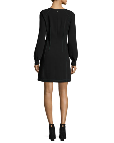 Long-Sleeve V-Neck Dress w/ Contrast Topstitching