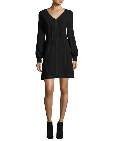 Long-Sleeve V-Neck Dress w/ Contrast Topstitching